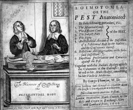 Two men dissecting a body with plague.