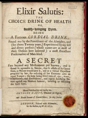 Titlepage: 'Elixir salutis: the choice drink of health...'.